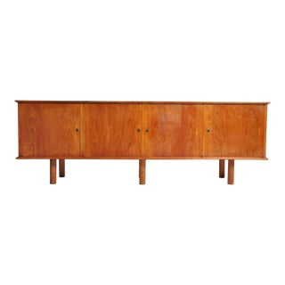 French Mid-Century Modern Walnut Veneer Sideboard For Sale
