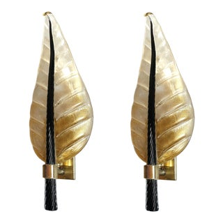 1970s Mid-Century Modern Leaf Murano Glass Sconces by Barovier & Toso - a Pair For Sale