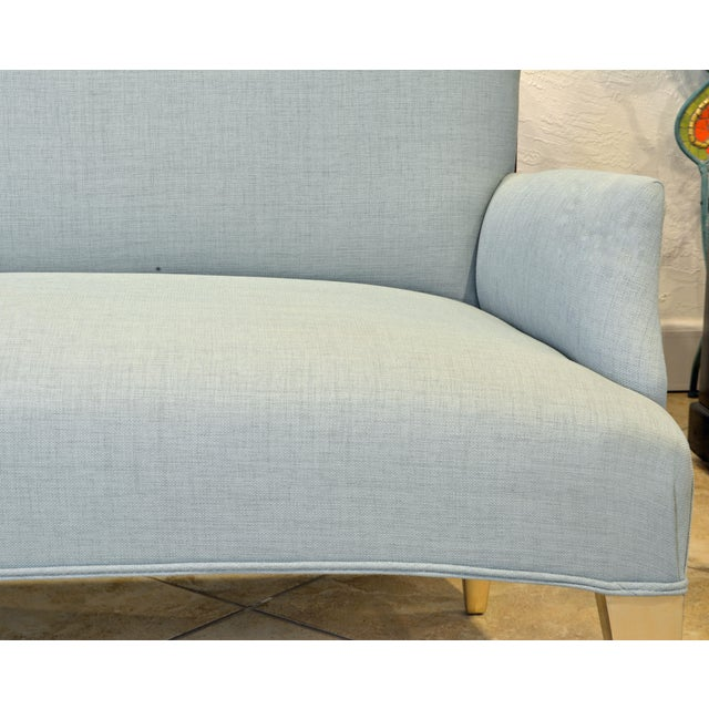Vintage Ico Parisi Style Seafoam Color Loveseat Settee With Great Curved Lines For Sale In Miami - Image 6 of 11