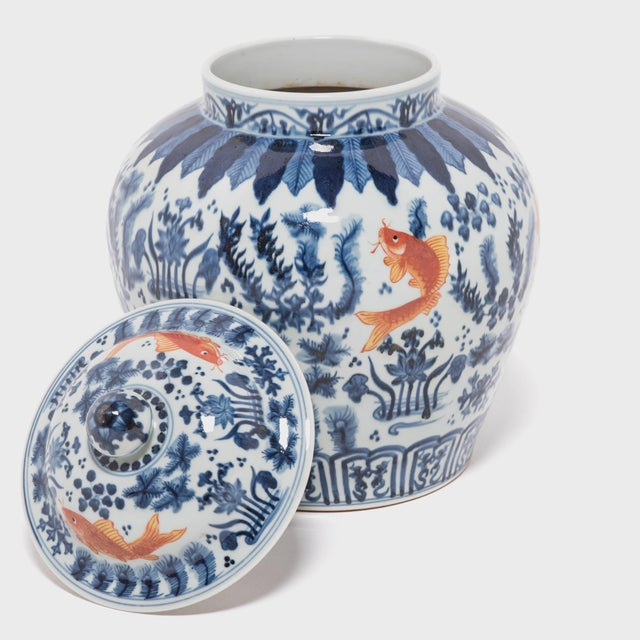 Early 21st Century Chinese Underglaze Indigo and Copper Fish Jar For Sale - Image 5 of 7