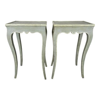 French Painted Louis XV Style Side Tables, Pair For Sale