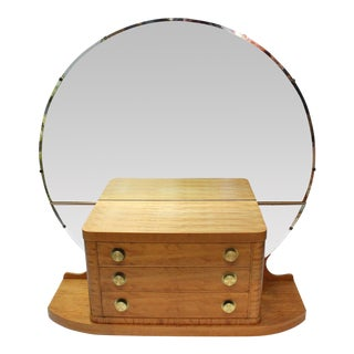 Art Deco Vanity with Round Mirror For Sale