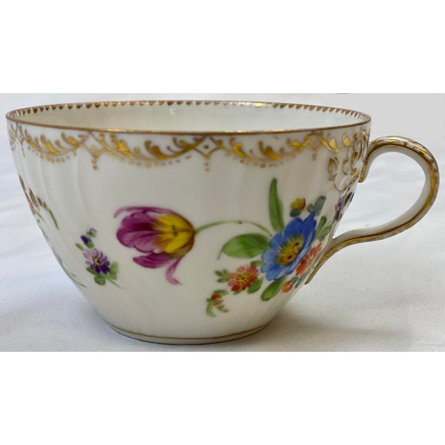 English Antique 19th Century Richard Klemm Dresden Porcelain Demitasse Cup & Saucer For Sale - Image 3 of 10