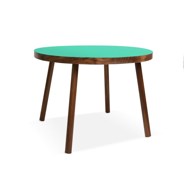 """Contemporary Poco Small Round 23.5"""" Kids Table in Walnut With Mint Top For Sale - Image 3 of 3"""
