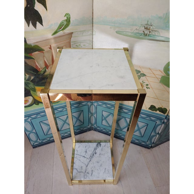 Contemporary 1980s Brass and White Marble Pedestal For Sale - Image 3 of 7