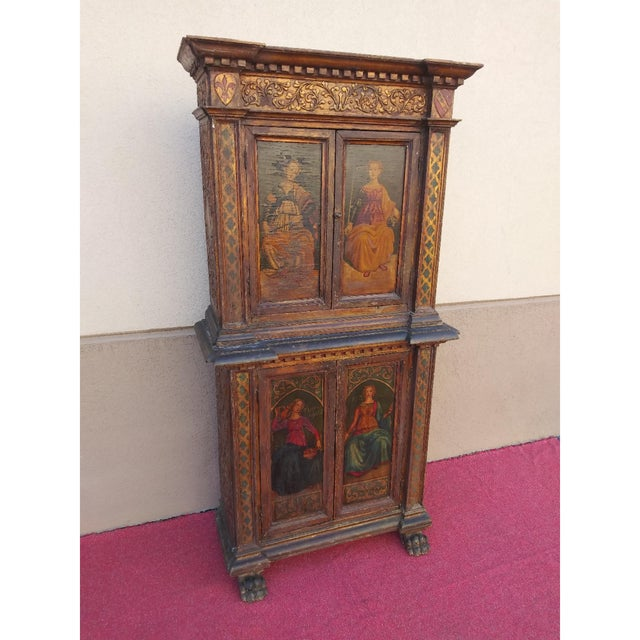Staggering early Italian hand painted polychromed claw footed 2 piece cupboard late 19th century. Original back has been...