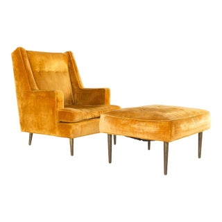 Edward Wormley for Dunbar Mid Century Chair and Ottoman With Brass Legs For Sale