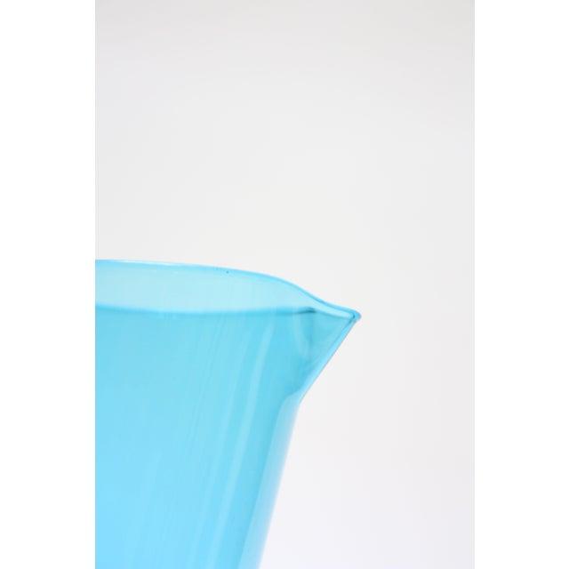 Gunnar Ander for Lindshammer Swedish Blue Glass Pitcher & Stirrer For Sale - Image 5 of 11