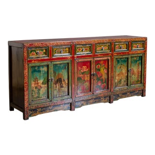 Antique Painted Chinese Sideboard Cabinet For Sale