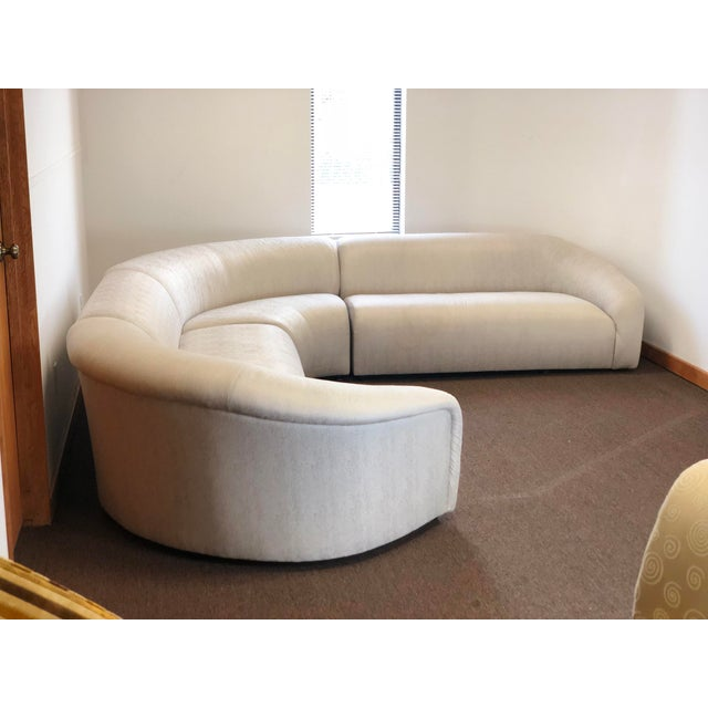 We are very pleased to offer a modern, elegant, four-piece curved 4 piece sectional attributed to Vladimir Kagan for...