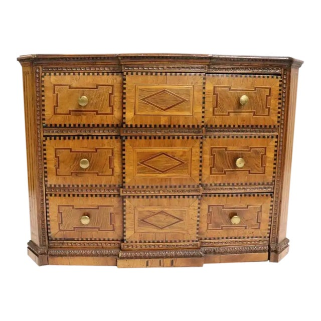 Early 19th Century Italian Neoclassical Fruitwood Jewelry or Silver Chest For Sale