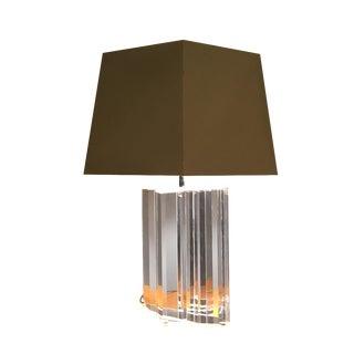 Vintage Les Prismatiques Lucite Acrylic Chrome Table Lamp