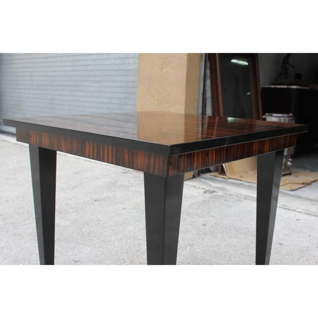 Brass 1940s Vintage French Art Deco Macassar Ebony Game Table For Sale - Image 7 of 11