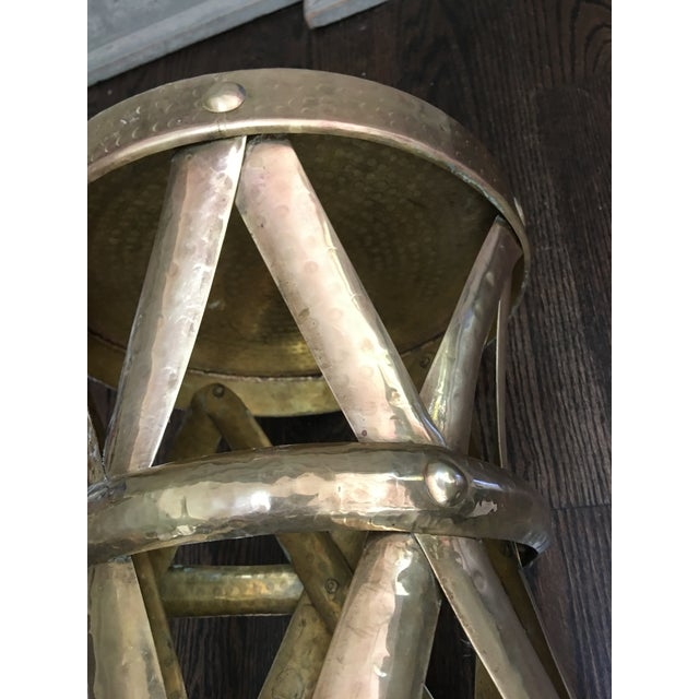 Mid-Century Modern Sarreid Style Modernist Hammered Brass Stool or Table For Sale - Image 3 of 6