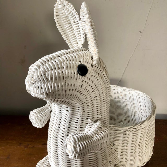 Boho Chic Vintage White Wicker Bunny Planter For Sale - Image 3 of 6