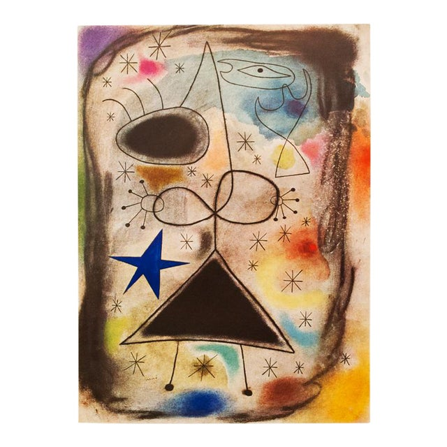 """1940s Juan Miró, """"Woman in the Night"""" Original Period Swiss Lithograph For Sale"""