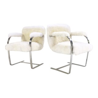Forsyth Mies Van Der Rohe Brno Chairs Restored in New Zealand Sheepskin - a Pair