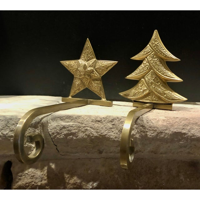 Brass Vintage Antiqued Brass Stocking Hangers Tree & Star - a Pair For Sale - Image 8 of 9