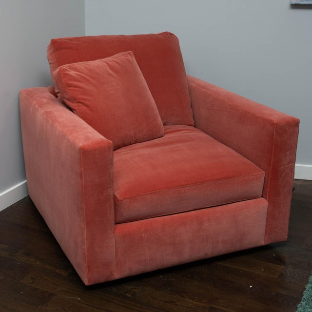 Large Tuxedo Arm Swivel Club Chair in Salmon Ultra Suede For Sale - Image 9 of 9