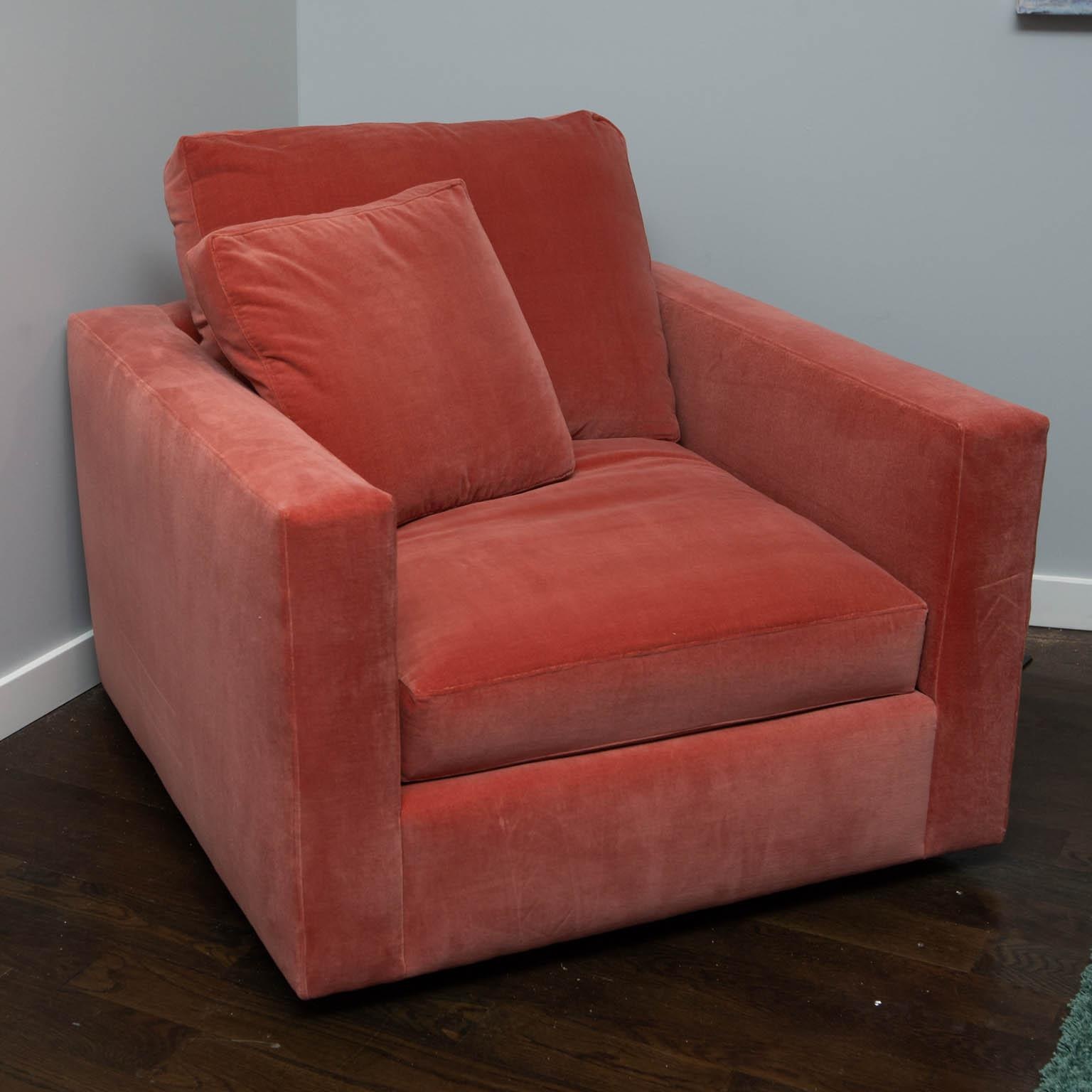 Large Tuxedo Arm Swivel Club Chair In Salmon Ultra Suede For Sale   Image 9  Of