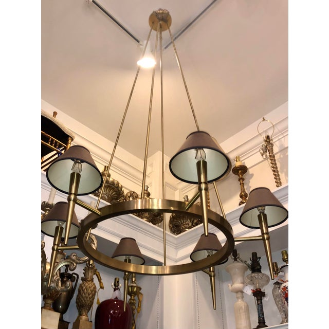 Modern Boyd Lighting Brushed Brass Modern Wagon Wheel 6 Light Chandelier For Sale - Image 3 of 5