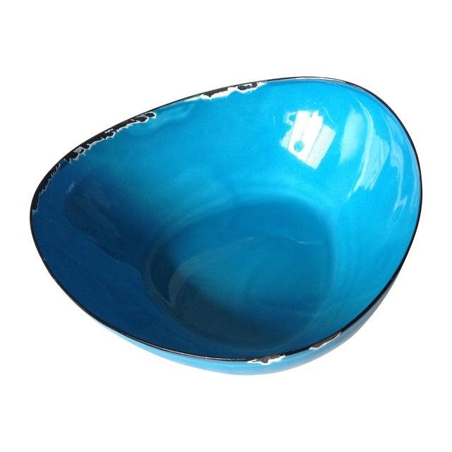 Mid-Century Modern Blue Enamel Metal Bowl - Image 1 of 11