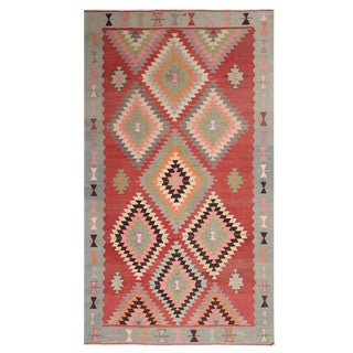 1940s Vintage Geometric Red and Teal Wool Kilim Rug-6'3'x10'10' For Sale