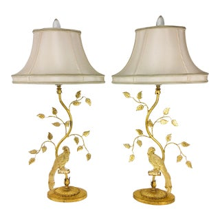 Maison Bagues Style Crystal and Gilded Wrought Iron Lamps – a Pair For Sale