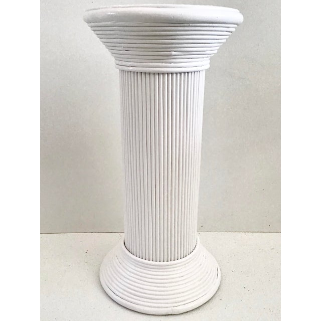 Great Drinks Table in White lacquered Pencil Reed . This Boho Chic Cocktail Table will be a fun addition to your interiors.