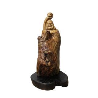 Chinese Cypress Wood Carved Irregular Shape Happy Buddha Statue
