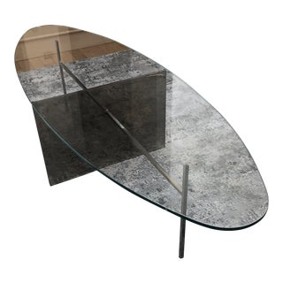 Modern Glass Oval Coffee Table For Sale