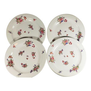 """Tin Plates by Robert Steffy San Francisco 1988 Floral Design """"Louise"""" - Set of Four For Sale"""