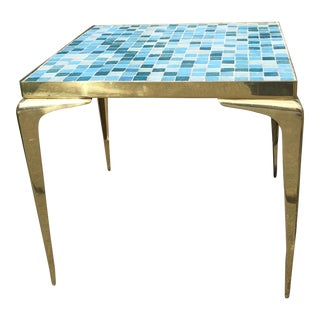 Mid-Century Modern Brass & Turquoise Tile Mosaic Square Side Table