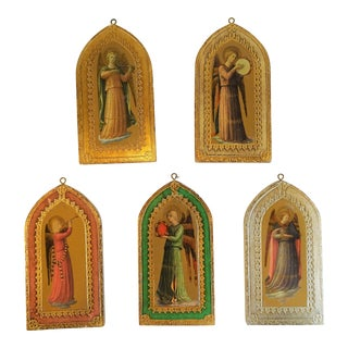 Vintage Italian Florentine Gold Angel Plaques - Set of 5