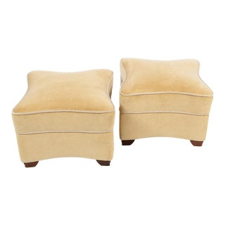 1930s Jules LeLeu Upholstered Ottomans - a Pair For Sale