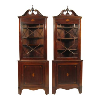 Federal-Style Inlaid Mahogany Corner Cabinets - a Pair