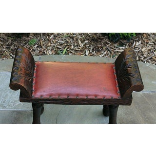 Antique English Oak & Red Leather Foot Stool Bench Vanity Seat Stool 1920s Preview