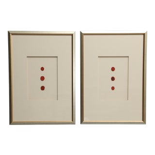Framed Antique Red Wax Seal Intaglios, a Pair For Sale