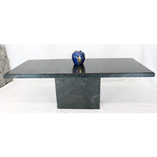 Mid-Century Modern Rectangular Single Marble Pedestal and Top Dining Conference Table Deep Green For Sale - Image 3 of 13