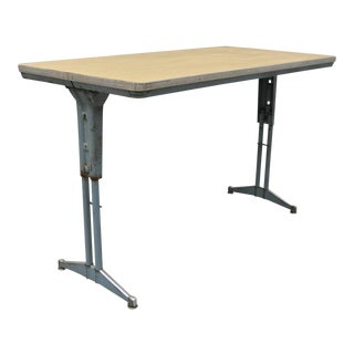 Vintage Industrial Steel Metal Laminate Work Table