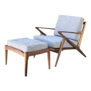 Mid Century Modern Lounge Chair and Ottoman- Customizable For Sale
