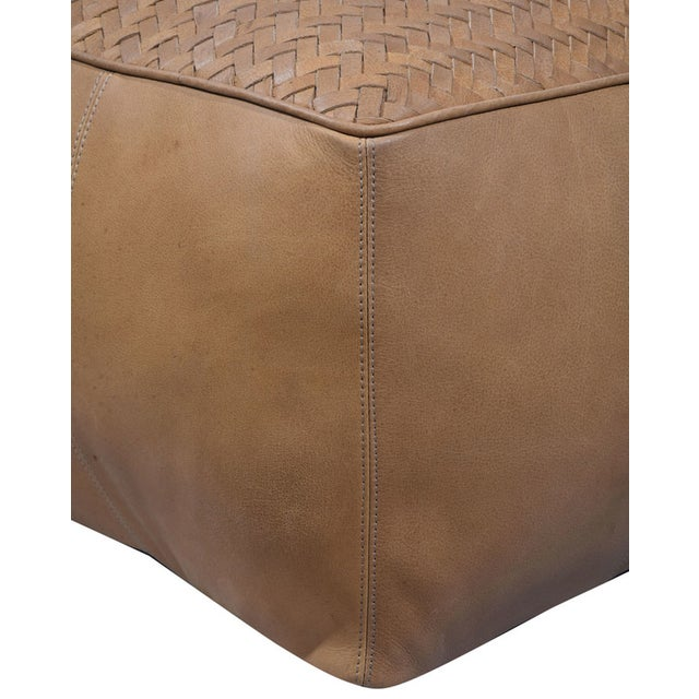 Contemporary Light Brown Square Leather Upholstered Pouf For Sale - Image 3 of 5