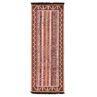 Burano Burgundy Red and Blue Wool Runner With Antique Hook Motifs For Sale