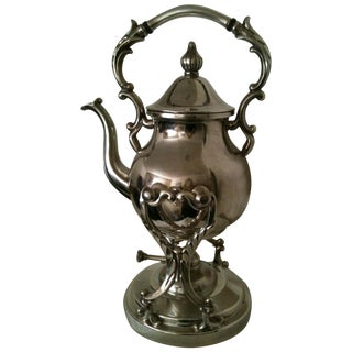 Silver on Copper Tea Kettle with Stand and Burner For Sale