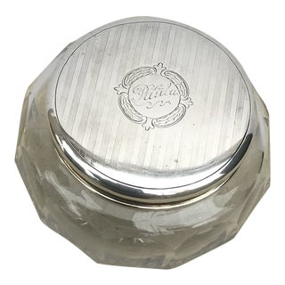 Antique Collectible Crystal Powder Jar /Candy Jar /Container With Sterling Lid Top For Sale