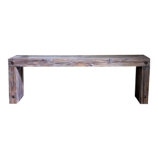 "Vintage Wood Waterfall Bench Coffee Table 48"" For Sale"