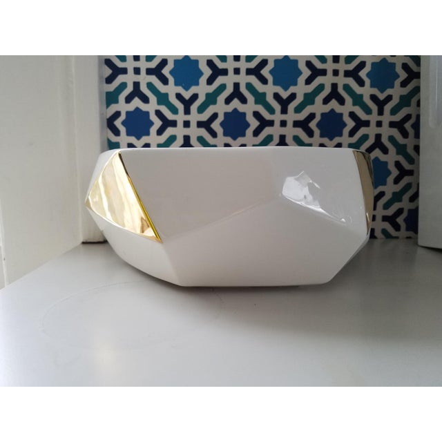 White & Gold Faceted Bowl - Image 4 of 5