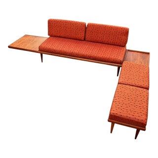 Mid Century Modern Platform Walnut Sofa