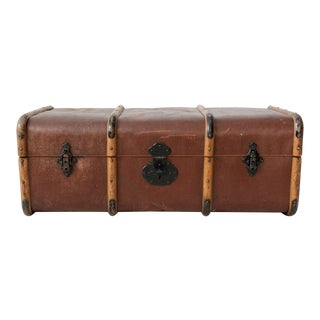 Vintage Swedish Traveling Trunk with Wood Banding For Sale