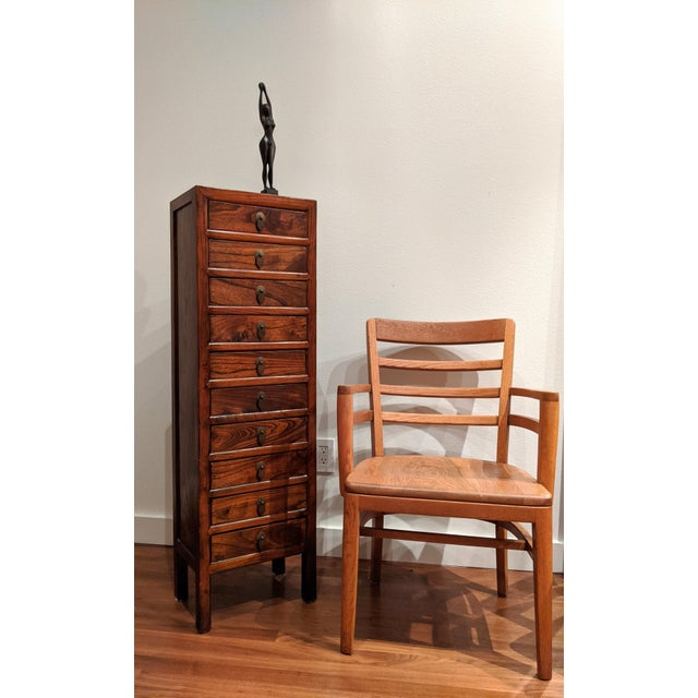 Tall Slim Elm Jewelry Dresser With Brass Chinoiserie Pulls For Sale - Image 12 of 12